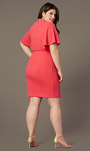 Image of coral pink short plus-size wedding-guest dress. Style: SY-IXD-6498AP Back Image