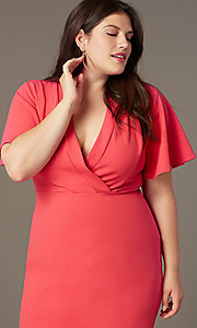Image of coral pink short plus-size wedding-guest dress. Style: SY-IXD-6498AP Detail Image 1