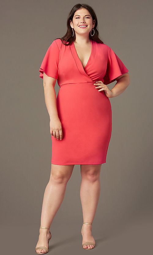 Coral Pink Short Plus-Size Wedding-Guest Dress