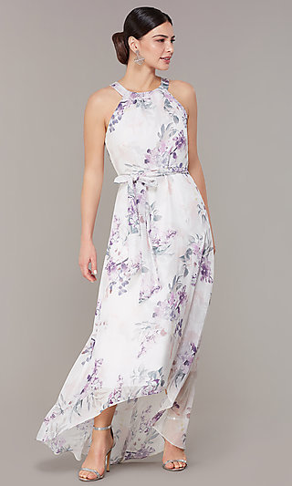 Floral Print High-Low Vacation Ready Party Dress