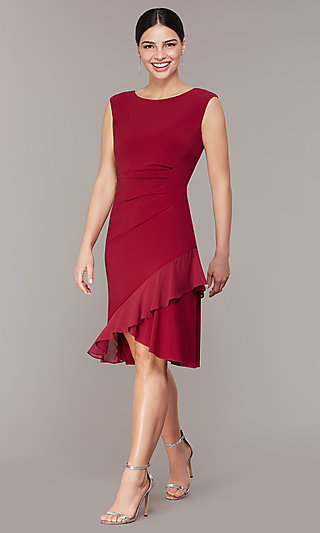 Red Knee-Length Wedding-Guest Party Dress