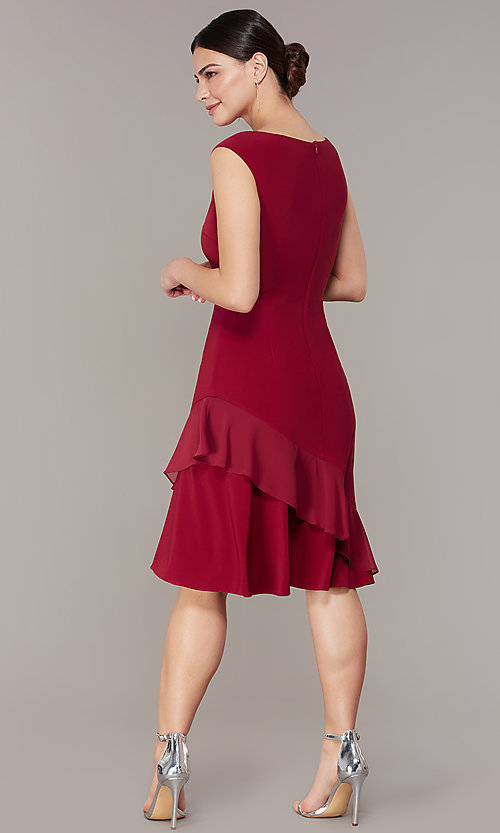 Image of red knee-length wedding-guest party dress. Style: IT-9135133 Back Image