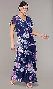 Image of tiered navy floral-print long wedding-guest dress. Style: IT-9171432 Front Image