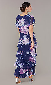 Image of tiered navy floral-print long wedding-guest dress. Style: IT-9171432 Back Image