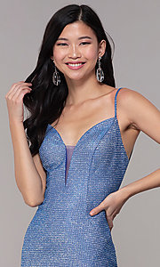Image of strappy-back long v-neck glitter-knit prom dress. Style: DJ-A8051 Detail Image 1