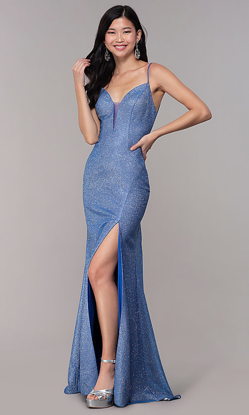 Image of strappy-back long v-neck glitter-knit prom dress. Style: DJ-A8051 Back Image