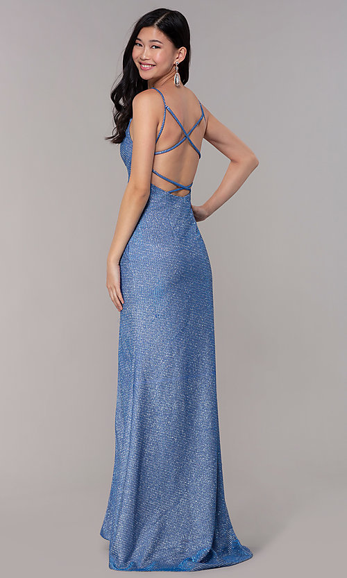 Image of strappy-back long v-neck glitter-knit prom dress. Style: DJ-A8051 Front Image
