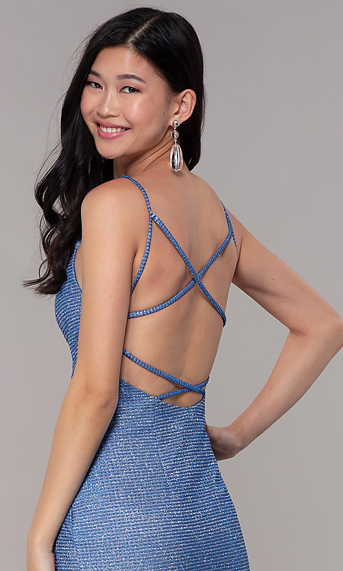 Image of strappy-back long v-neck glitter-knit prom dress. Style: DJ-A8051 Detail Image 2