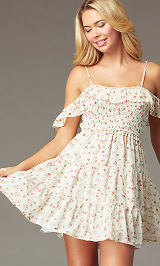 Short Print Casual Cold-Shoulder Dress