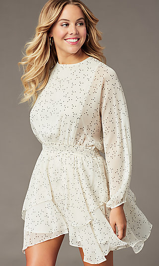 Ivory Dolman-Sleeve Short Print Party Dress