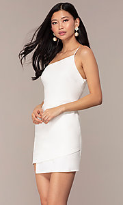 Image of short one-shoulder off-white grad party dress. Style: AC-DH24531E Front Image