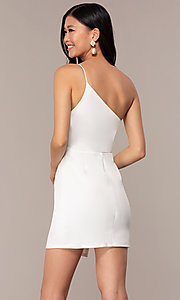 Image of short one-shoulder off-white grad party dress. Style: AC-DH24531E Back Image