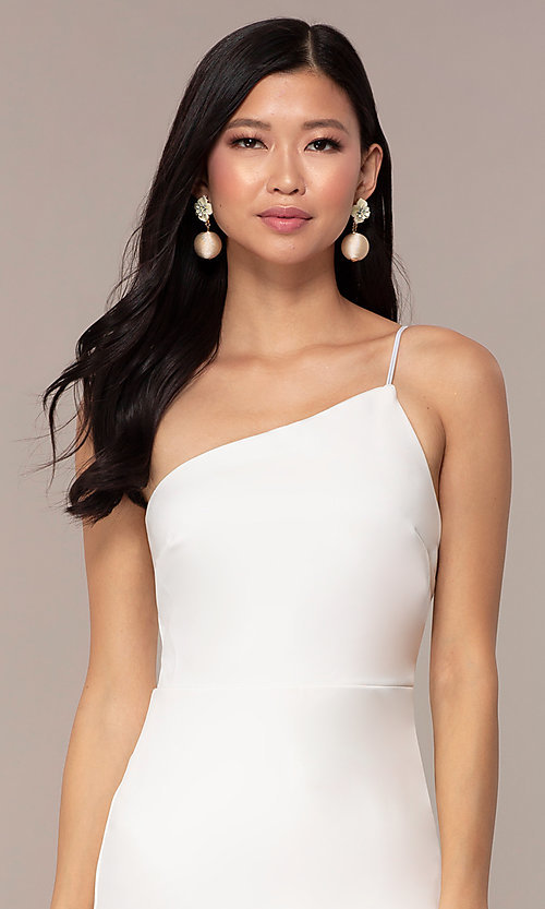 Image of short one-shoulder off-white grad party dress. Style: AC-DH24531E Detail Image 1