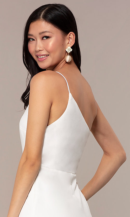 Image of short one-shoulder off-white grad party dress. Style: AC-DH24531E Detail Image 2