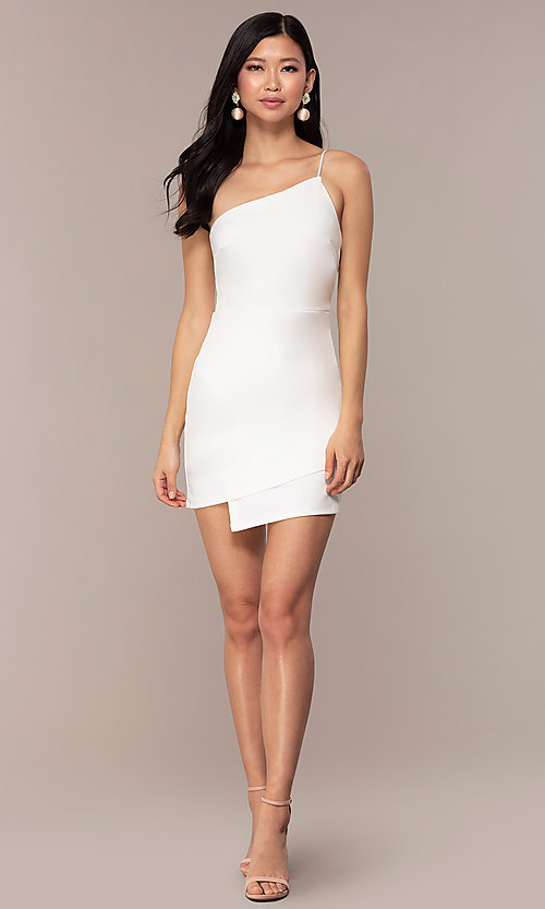Image of short one-shoulder off-white grad party dress. Style: AC-DH24531E Detail Image 3