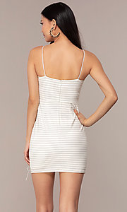 Image of black and white striped short party dress. Style: AC-DH24533E Back Image
