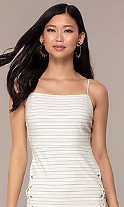 Image of black and white striped short party dress. Style: AC-DH24533E Detail Image 1