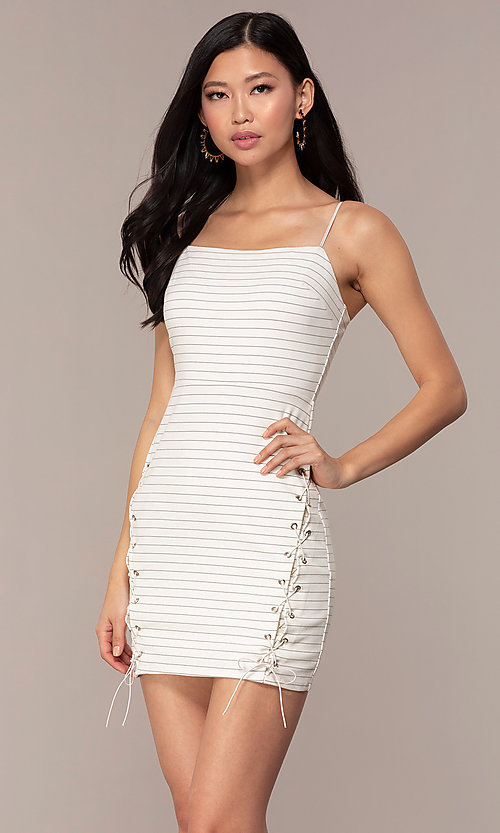 Image of black and white striped short party dress. Style: AC-DH24533E Front Image