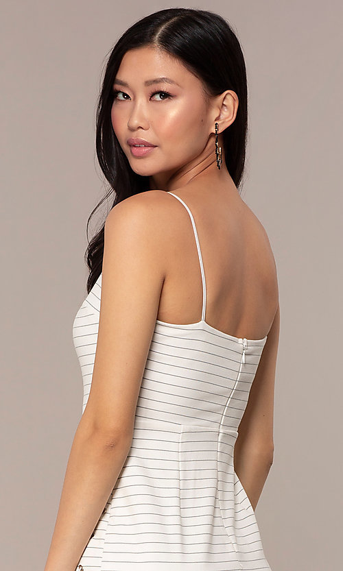 Image of black and white striped short party dress. Style: AC-DH24533E Detail Image 2