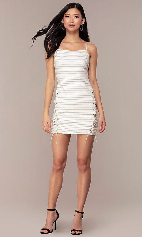 Image of black and white striped short party dress. Style: AC-DH24533E Detail Image 3