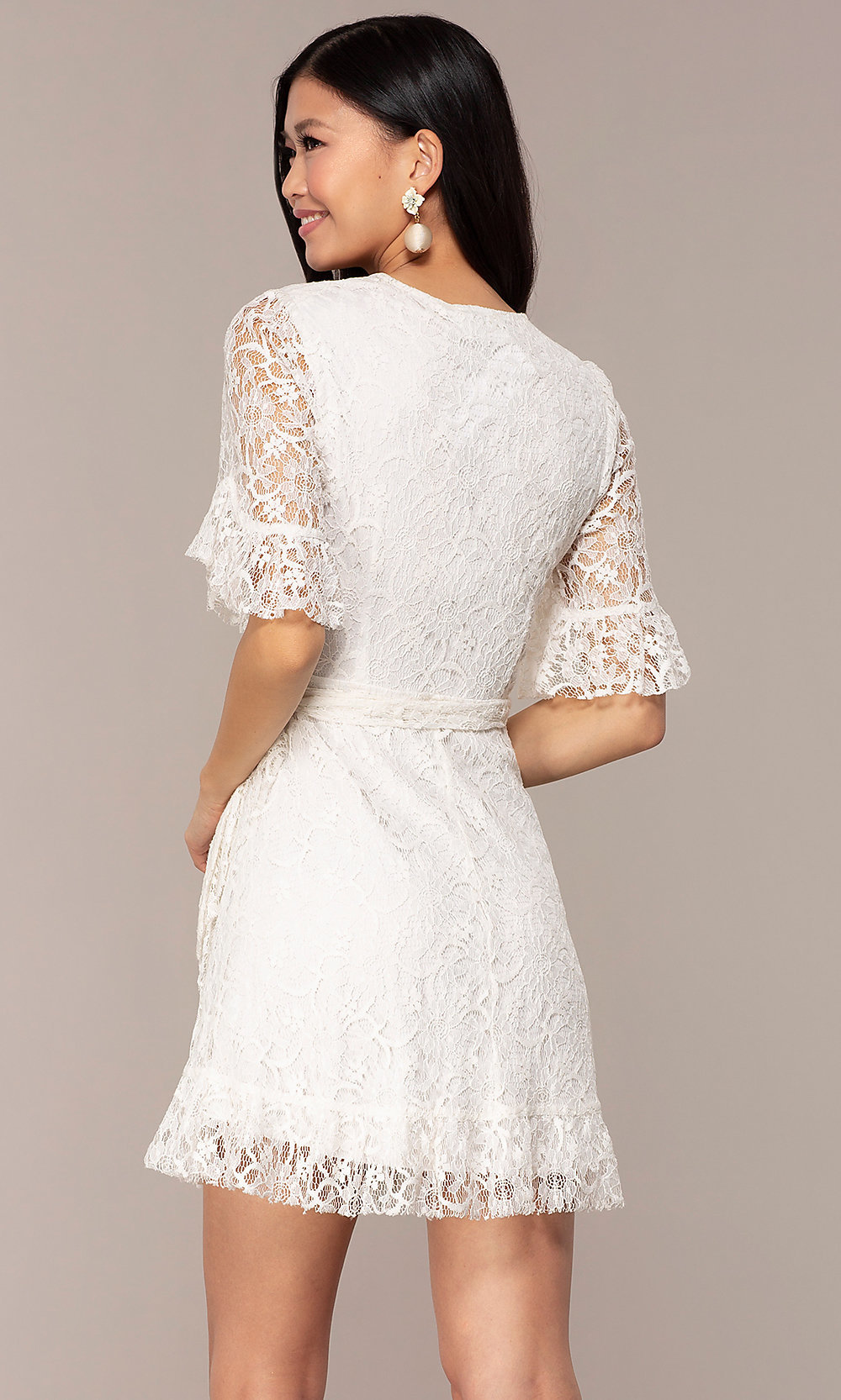 266025395fc9 Image of short lace wrap off-white graduation party dress. Style: AC-. Tap  to expand