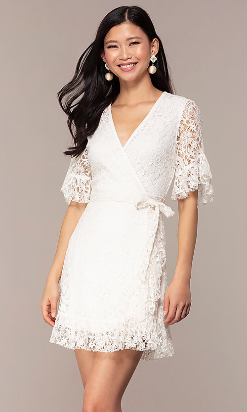9e0483497102 Image of short lace wrap off-white graduation party dress. Style  AC-