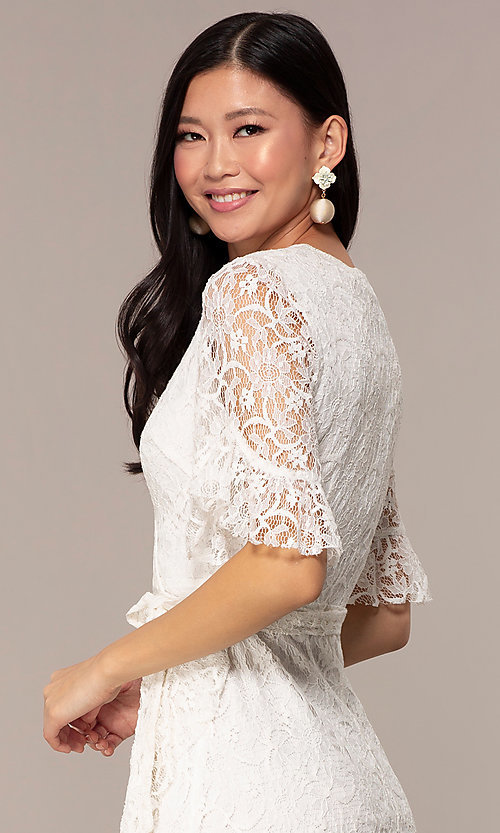 bafca1fc8ebb Image of short lace wrap off-white graduation party dress. Style: AC-