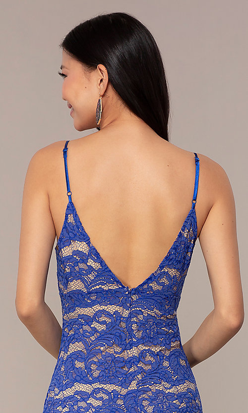 Image of empire-waist short lace party dress in royal blue. Style: AC-DHS24468B Detail Image 2