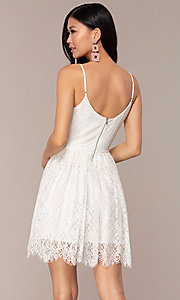 Image of short v-neck lace grad party dress in off white. Style: AC-DS23512B Back Image