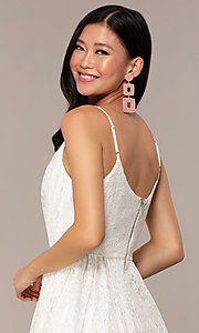 Image of short v-neck lace grad party dress in off white. Style: AC-DS23512B Detail Image 2