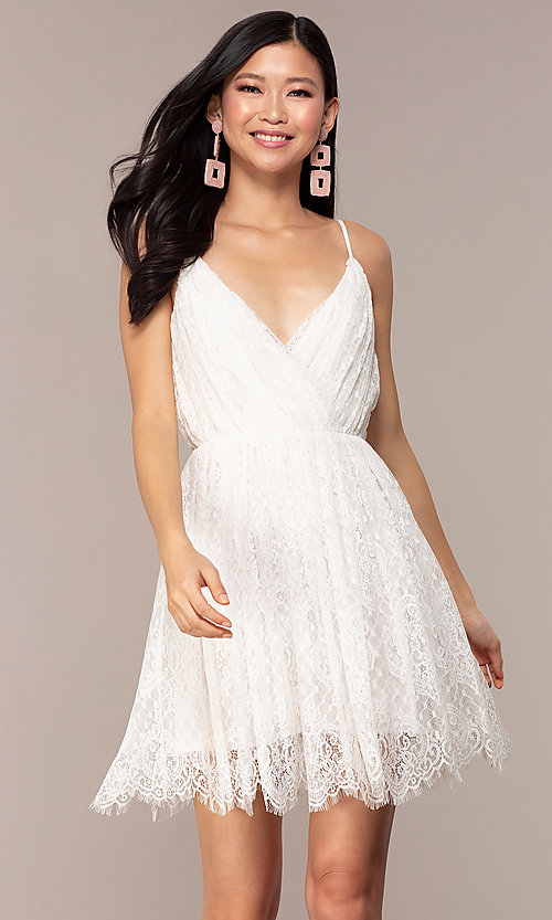 Image of short v-neck lace grad party dress in off white. Style: AC-DS23512B Front Image