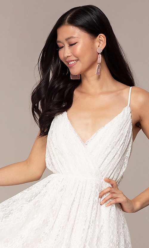 Image of short v-neck lace grad party dress in off white. Style: AC-DS23512B Detail Image 1