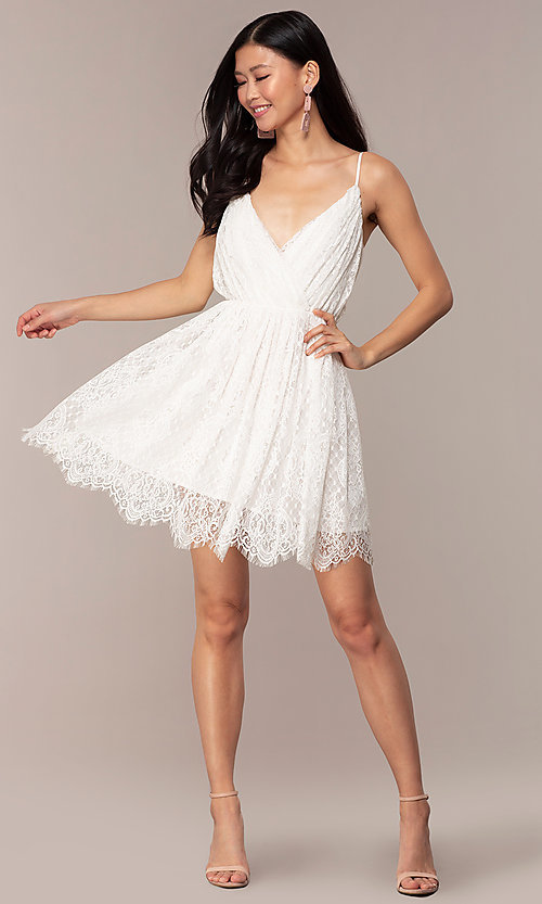 Image of short v-neck lace grad party dress in off white. Style: AC-DS23512B Detail Image 3