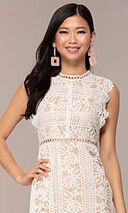 Image of nude-lined white lace short graduation party dress. Style: AC-DS24755B Detail Image 1