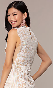 Image of nude-lined white lace short graduation party dress. Style: AC-DS24755B Detail Image 2