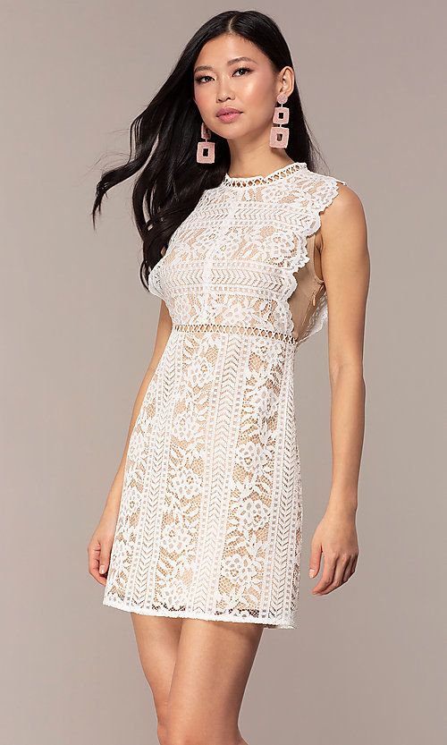 Image of nude-lined white lace short graduation party dress. Style: AC-DS24755B Front Image