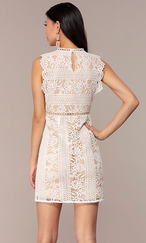 Image of nude-lined white lace short graduation party dress. Style: AC-DS24755B Back Image