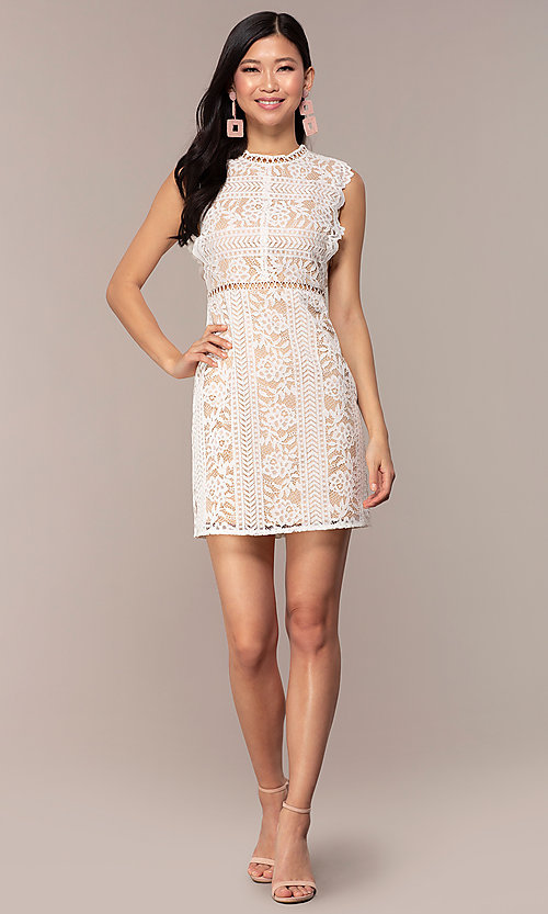 Image of nude-lined white lace short graduation party dress. Style: AC-DS24755B Detail Image 3