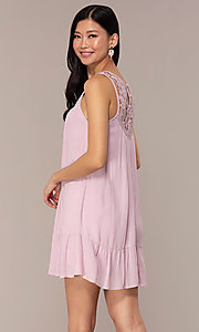 Image of casual short purple shift party dress with ruffle. Style: AC-ED14323VL Back Image