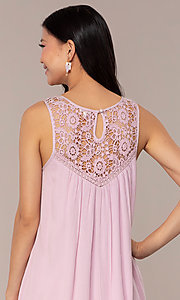 Image of casual short purple shift party dress with ruffle. Style: AC-ED14323VL Detail Image 2