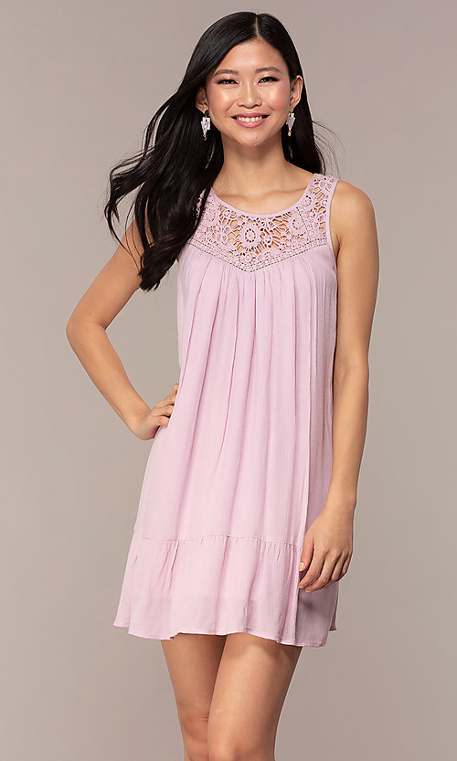 Image of casual short purple shift party dress with ruffle. Style: AC-ED14323VL Front Image