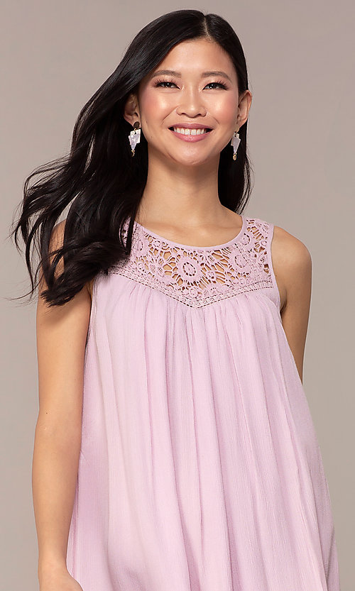 Image of casual short purple shift party dress with ruffle. Style: AC-ED14323VL Detail Image 1
