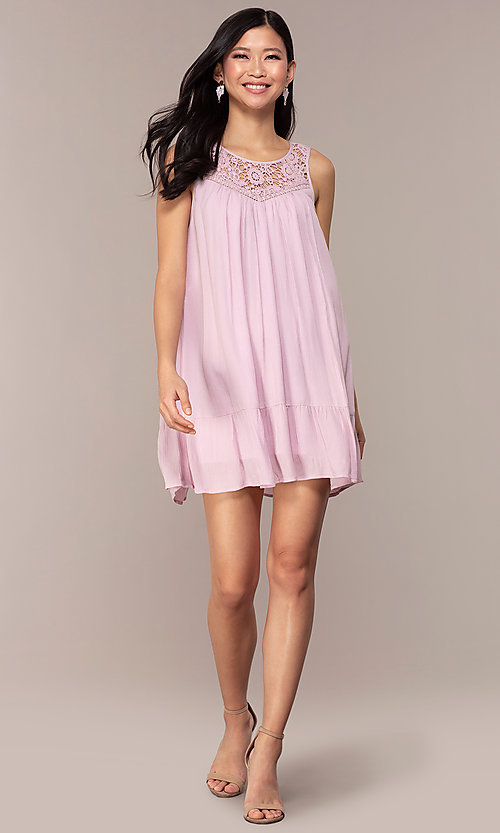 Image of casual short purple shift party dress with ruffle. Style: AC-ED14323VL Detail Image 3