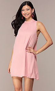 Image of casual short high-neck shift pink party dress. Style: AC-ED14431WL Front Image