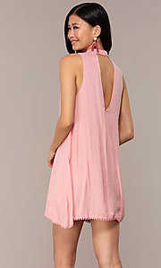 Image of casual short high-neck shift pink party dress. Style: AC-ED14431WL Back Image