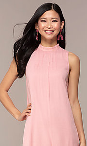 Image of casual short high-neck shift pink party dress. Style: AC-ED14431WL Detail Image 1