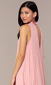 Image of casual short high-neck shift pink party dress. Style: AC-ED14431WL Detail Image 2