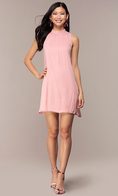 Image of casual short high-neck shift pink party dress. Style: AC-ED14431WL Detail Image 3