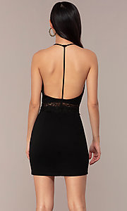 Image of short open-t-back lace-trimmed black party dress. Style: AC-ED15957EH Back Image
