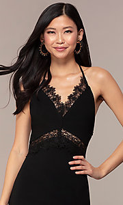 Image of short open-t-back lace-trimmed black party dress. Style: AC-ED15957EH Detail Image 1